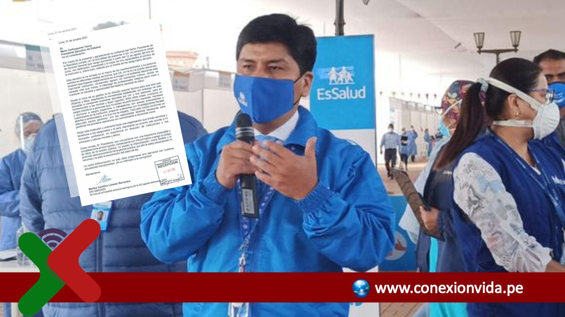 Exgerenta general de EsSalud renuncia tras denunciar presiones de Mario Carhuapoma